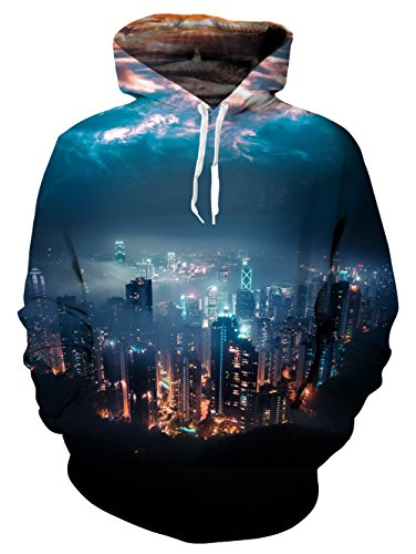 Leapparel Men&Women 3d Hoodie Sweatshirt City Night Autumn Winter Pullovers Tracksuit, City Night, XX-Large