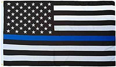 Thin Blue Line Flag (3 By 5 Foot) - With Embroidered Stars and Sewn Stripes - Black White and Blue American Police Flag Honoring Law Enforcement Officers