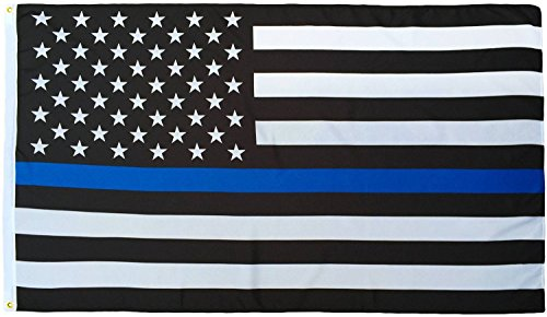 Thin Blue Line Flag (3 By 5 Foot) - With Embroidered Stars and Sewn Stripes - Black White and Blue American Police Flag Honoring Law Enforcement ()