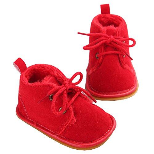 YYF Baby-Schuhe Premium Weiches Fell Warm Winter Anti-Rutsch-Schneeschuh Krippe Shoes Rot