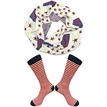 Sale Fashion Patriotic American Flag Stars and Stripes Scarf & Sock Sets Mother Day Gift Idea