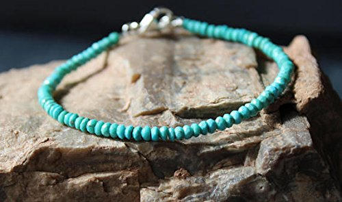 (Turquoise Bracelet, All Natural Sleeping Beauty Turquoise Bracelet, All Turquoise Bracelet, Dainty Beaded Gemstone Stacking Bracelet 3 ~ 3.5 mm )