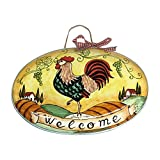 CERAMICHE D'ARTE PARRINI - Italian Ceramic Art Pottery Oval Tile House Plaques Decorated Rooster Landscape Welcome Hand Painted Made in ITALY Tuscan