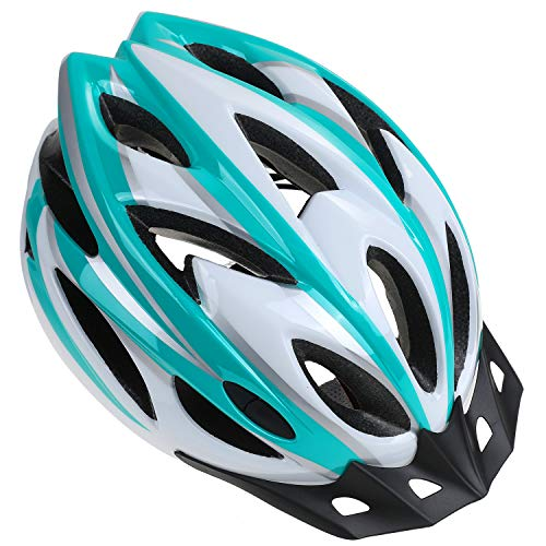 Zacro Adult Bike Helmet - CPSC Certified Cycle Helmet, Specialized for Womens Safety Protection, Bonus with a Headband, White Plus Green Helmet