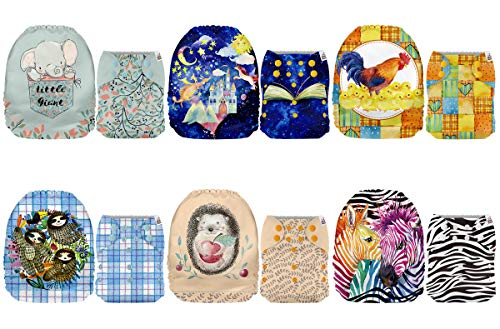 6 Pack with 6 One Size Microfiber Inserts Mama Koala One Size Baby Washable Reusable Pocket Cloth Diapers Whale Tribe
