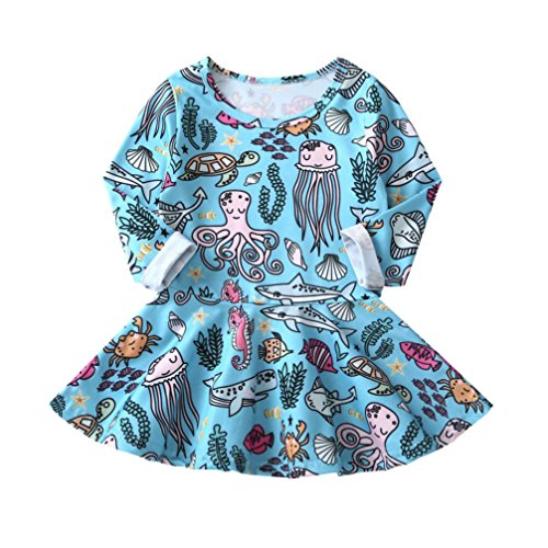 Jarsh Toddler Infant Kids Baby Girls Long Sleeve Cartoon Turtle Octopus Animals Casual Dress Clothes Outfits (Blue, -