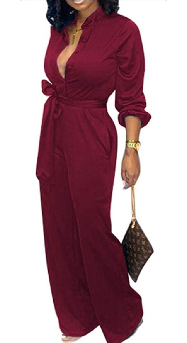 HTOOHTOOH Womens Long Sleeve Button Wide Leg Pants Jumpsuit Rompers with Belt