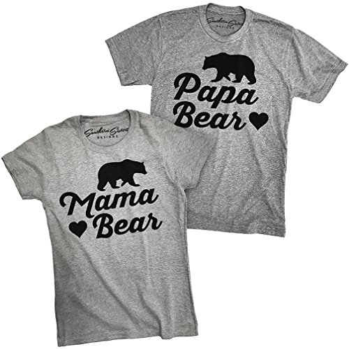 Papa Bear and Mama Bear Shirts That Match (Baby Brother Sister) Family Tees (Her XL - His 2X)