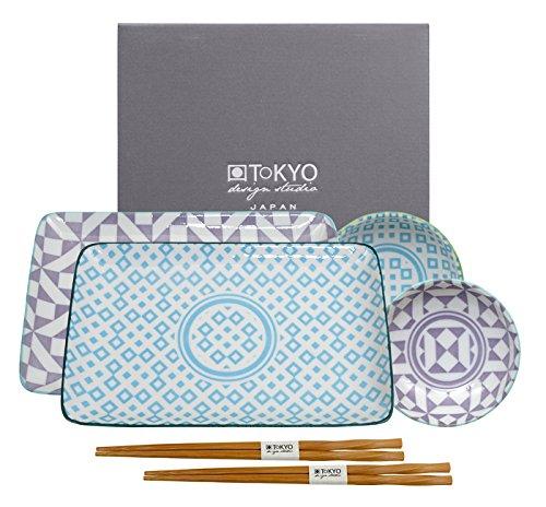 Tokyo Design Studio Geometric Eclectic Sushi Set komplett - 6-teilig - für 2 Personen - 2 Sushiteller und 2 Dipschälchen aus hochwertigem Porzellan inklusiv 2 Paar.Essstäbchen aus Bambus - Spülmaschinenfest und mikrowellengeeignet - in schöner Geschenkbox