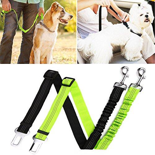 Cheap hipidog Pets Seat Belt Leash for Dog Cat, Adjustable Vehicle Seatbelt, Retractable Leash Belt with Reflective Elastic Nylon Fabric-2 Pack (Black&Green)