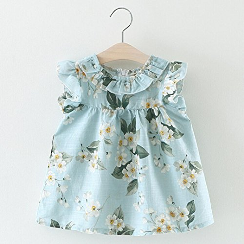 Blue Girls Girocollo festa Dress Ruffle nuziale Summer Honor Sleeveless colletto Girl Child Stampato Angelof Maid Baby D Gonna Princess Flower tAqHOEtw