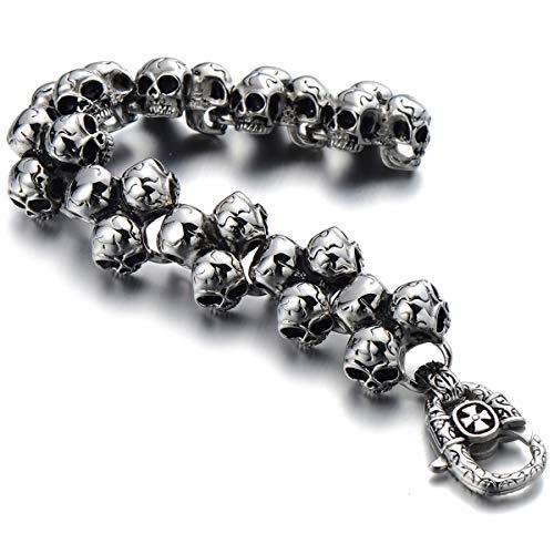 COOLSTEELANDBEYOND Gothic Punk Large Stainless Steel Triple Skulls Bracelet for Men for Boys Silver Color Polished