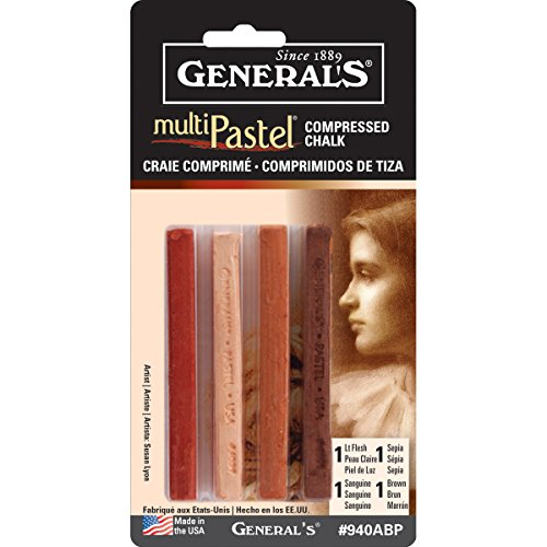 General Pencil Company Compressed Pastel Chalk 4-Pack: Earth Tones Compressed Chalk