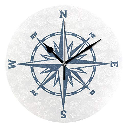 WXLIFE World Nautical Compass Round Acrylic Wall Clock, Silent Non Ticking Art Painting for Kids Bedroom Living Room Office School Home Decor