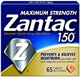 Zantac 150 Maximum Strength Tablets, 65 Count, Helps Relieve and Prevent Heartburn Associated with Acid Indigestion or Sour Stomach, Use Before or After Meals or Before Bed at Night
