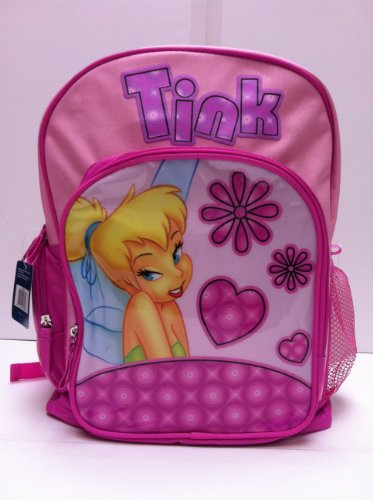 Walt Disney Tinkerbell Large Backpack with Water Bottle and One Mickey Sticker Set (Tinkerbell Items)
