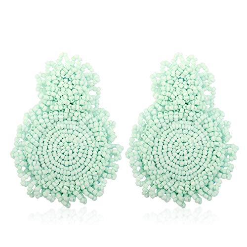 Statement Earrings for Women Handmade Bohemian Beaded Round Drop Earrings for Party Daily Meeting Club with Gift Box HLE128 Mint Green