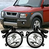cciyu Clear Fog Light Assembly Replacement fit for 2003-2006 Honda Element (Wiring Kit Included) Pair Set