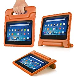 TNP Shock Proof Case for All New Fire HD 8 Tablet (7th Gen, 2017 Release) - For Kid Friendly Child Proof Anti Slip Impact Drop Light Weight Convertible Handle Stand Cover Protective Case (Orange)
