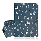 Cute iPad 9.7 Case, Cactus iPad Air 9.7 Case, Llama Tablet Stand Case for iPad 9.7 Inch With Auto Sleep/Wake Function, Blue Protective Smart Case Cover for iPad 6th/5th Gen 2018 2017, White Flowers