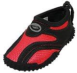 Cambridge Select Toddler's Slip-On Mesh Quick Dry Drawstring Non-Slip Water Shoe (Toddler),8 M US Toddler,Black/Red