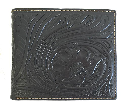 - Montana West Men's Genuine Leather Bi-fold Wallet Tooled Basket Weave Floral Leaves Black