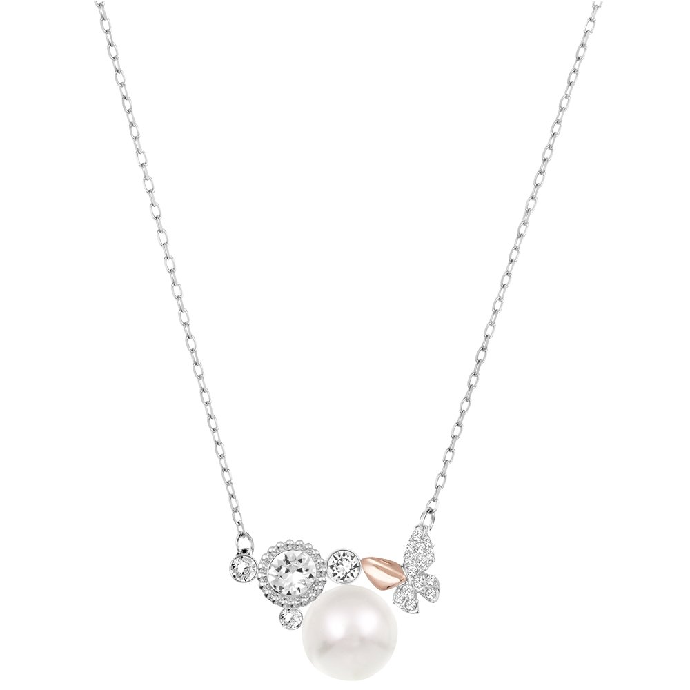 Swarovski Cute 5110668 Two-tone Pave Crystal Butterfly & Pearl Pendant Necklace