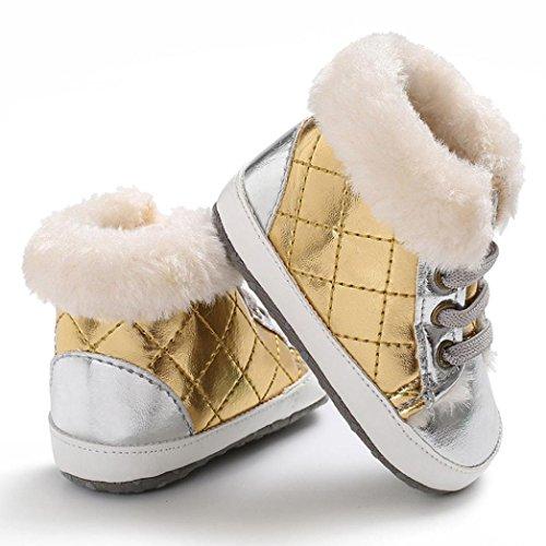 Baby schuhe,Sunyoyo Säuglingskleinkind-neugeborenes Baby-Mädchen-Jungen-weiche alleinige Erwärmungs-Schuhe Gold