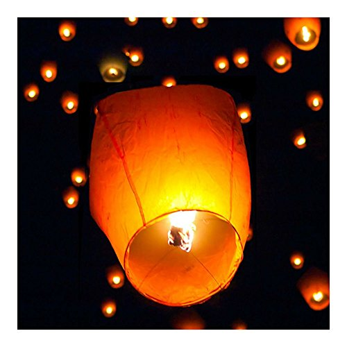 50Pcs White Paper Chinese Lanterns Sky Fly Candle Lamp for Wish Party -