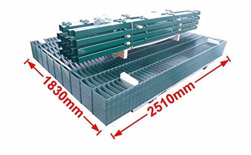 Doppelstab-Mattenzaun Komplett-Set / Grün / 183cm hoch / 30m lang ...