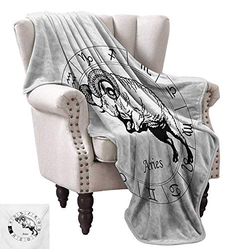 """Lightweight Blanket,Zodiac Wheel with Twelve Signs and Jumping Animal Spirituality Esoteric 50""""x30"""",Super Soft and Comfortable,Suitable for Sofas,Chairs,beds"""