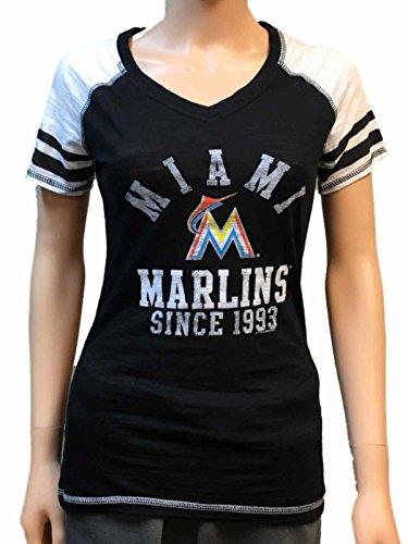 Miami Marlins SAAG Women Black Light Baseball Tri-Blend V-Neck T-Shirt (M)