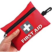 Mini First Aid Kit, 92 Pieces Small First Aid Kit – Includes Emergency Foil Blanket, Scissors for Travel, Home, Office, Vehicle, Camping, Workplace & Outdoor (Red)