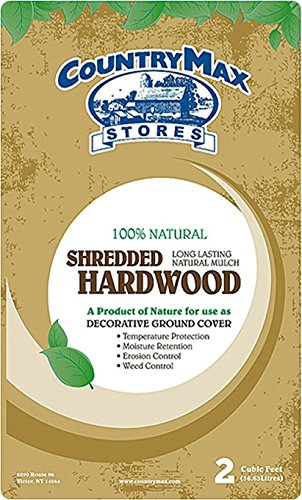 - CountryMax Natural Shredded Hardwood Mulch, 2 Cu. Ft.