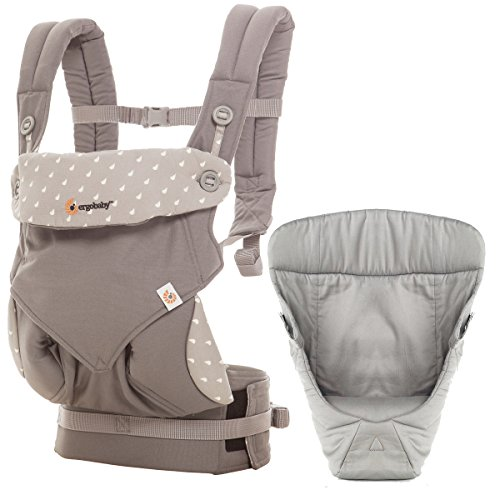 Ergobaby Four Position 360 Carrier, Dewy Grey with Easy Snug Infant Insert, Grey