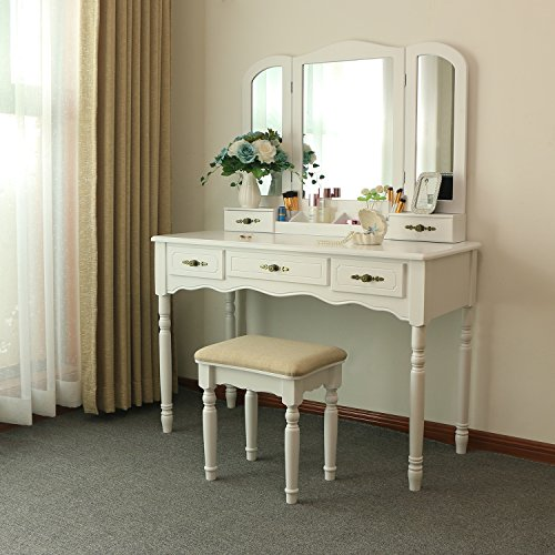BEWISHOME Vanity Set with Large Tri-folding Mirror & Cushioned Stool Vanity Desk Makeup Table 5 Drawers 2 Dividers Desk Organizer White FST03W