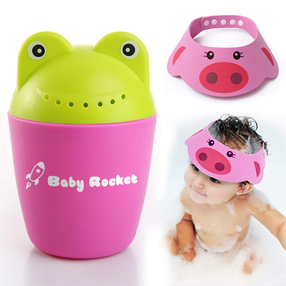 Baby Rocket Froggy Bath Tear-Free Waterfall Rinser Bath Cup, Blue | Free Bath Visor