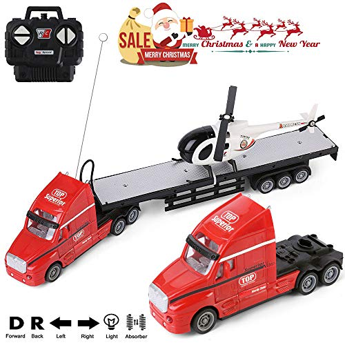 RC Truck 1:20 Scale Battery Operated Big Rig Semi Long Hauler Trailer with Helicopter Detachable Flatbed Transporter Toy Truck with Lights & Sounds, Ideal for Kids, ()