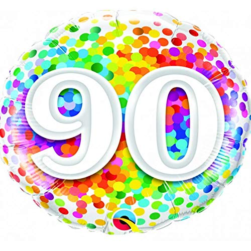 Rainbow Confetti 90th Birthday Mylar 18'' Balloon Happy Birthday Party Decorations -