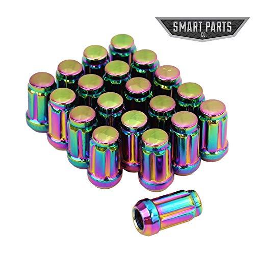 Lug End Closed - Smart Parts 20 PC 12x1.25 Neo Chrome Closed End Spline Drive Acorn Lug Nuts Key 1.4