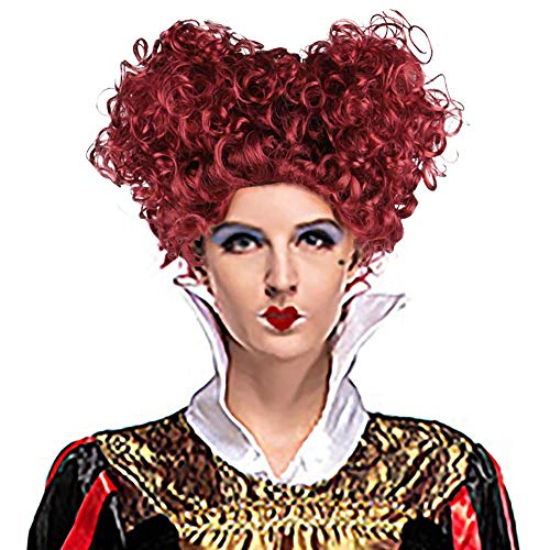 Adult New Royal Queen Wig Wine Red Short Curly Hair with Hearts Lolita Styled Halloween -