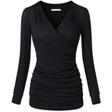 Women V Neck Elegant Crossover Long Sleeve Ruched Slim T-Shirt