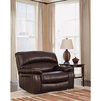 Ashley Furniture Signature Design - Damacio Recliner - Oversized - Contemporary - Pull Tab Reclining -  sc 1 st  Amazon.com & Amazon.com: Damacio Dark Brown Zero Wall Power Wide Recliner ... islam-shia.org