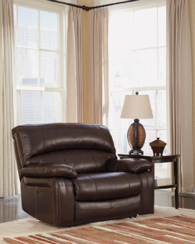 Ashley Furniture Signature Design - Damacio Recliner - Oversized - Contemporary - Pull Tab Reclining - Dark - Ashleigh Gentle
