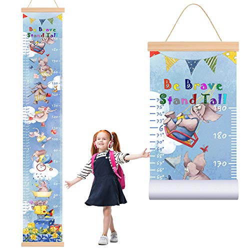 ETIUC Baby Kids Height Growth Chart Cartoon Animals Ruler for Kids Elephant Roll-up Canvas with Wooden Frame Nursery Removable Wall Hanging Decor for Boys Girls Room 78.7