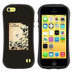 LASTONE PHONE CASE / Suave Silicona Caso Carcasa de Caucho Funda para Apple Iphone 5C / Birds Freedom Free Text Black