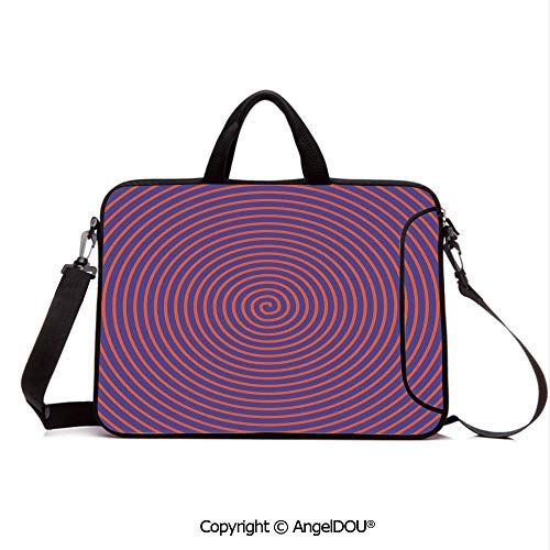 (AngelDOU Portable Ultrabook Soft Sleeve Laptop Bag Case Cover Hypnotic Spiral Pattern Spell Theme Image Optical Illusion Retro Illustration Compatible with MacBook Asus Acer HP Red Purple)