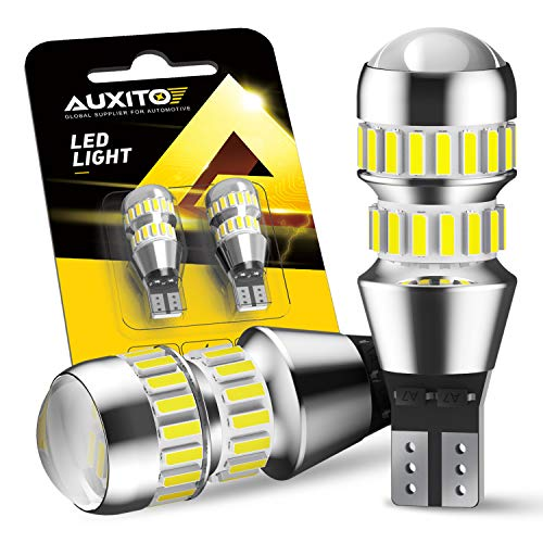 AUXITO 912 921 LED Bulbs for Backup Reverse Light Bulbs, 2600 Lumens 4014 42-SMD, 6000K White, Non-polarity 906 W16W T15 921 LED Bulb Direct Back Up Replacement Lamp, Pack of 2