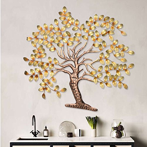 """Buy Collectible India Metal Tree of Life Wall Mounted Art (Golden, 42"""" x  32"""") Online at Low Prices in India - Amazon.in"""