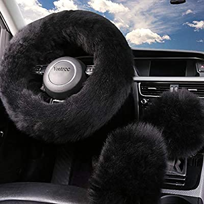 Yontree Fashion Fluffy Steering Wheel Covers for Women/Girls/Ladies Australia Pure Wool 15 Inch 1 Set 3 Pcs (Black): Automotive